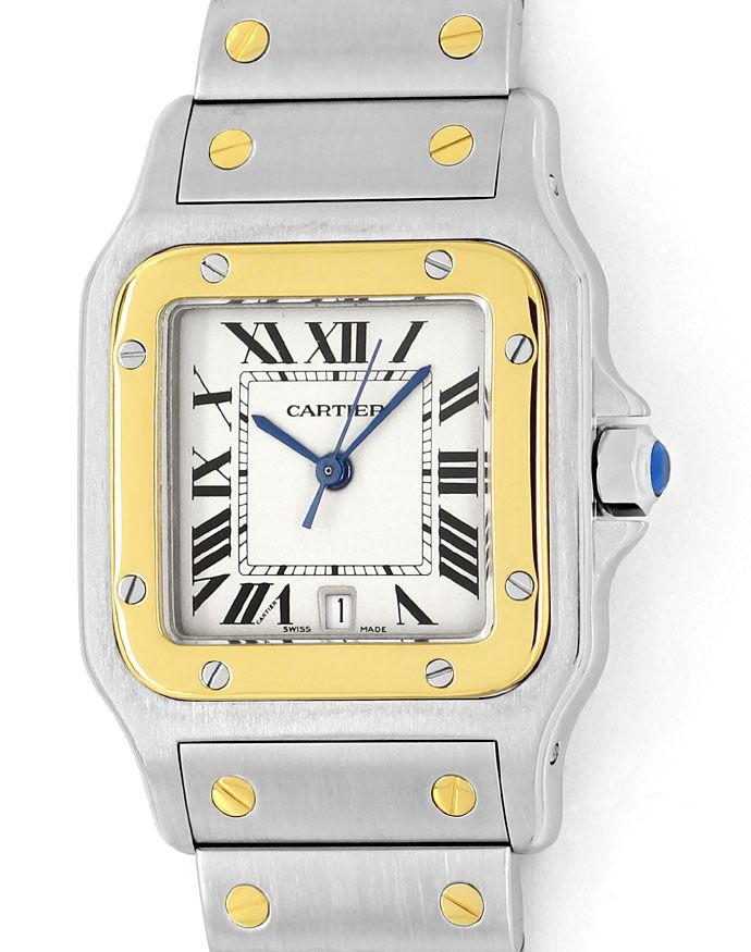 Foto 2 - Santos Galbee de Cartier Herren Armbanduhr in Stahlgold, U2180