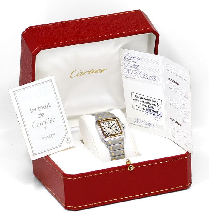 Foto 6 - Santos Galbee de Cartier Herren Armbanduhr in Stahlgold, U2180