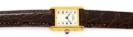 Foto 1, Must.de Cartier Tank Vermeil Silber Vergoldet Damen-Uhr, U2182