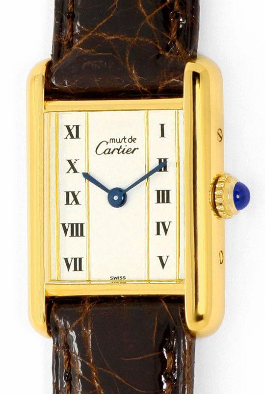 Foto 2, Must.de Cartier Tank Vermeil Silber Vergoldet Damen-Uhr, U2182