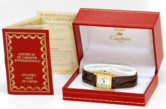 Foto 6, Must.de Cartier Tank Vermeil Silber Vergoldet Damen-Uhr, U2182