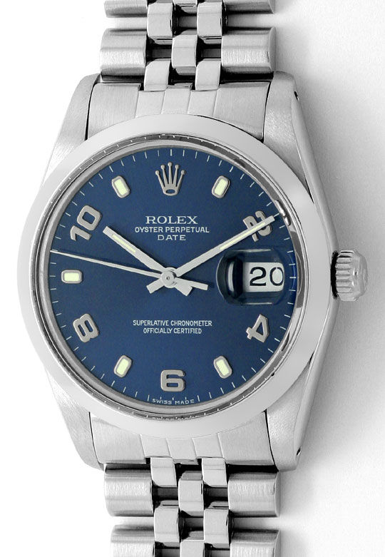 Foto 2 - Rolex Date Oyster Perpetual Edelstahl Herren Armbanduhr, U2183