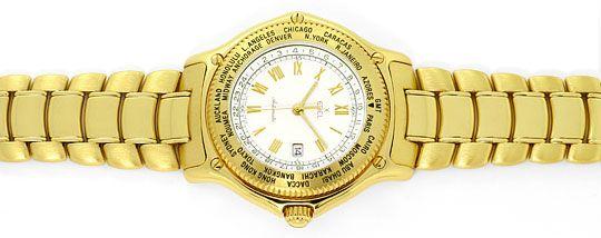 Foto 1, Ebel Voyager Automatik Tag-Nacht Weltzeit-Uhr Gelb-Gold, U2201