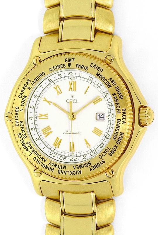 Foto 2, Ebel Voyager Automatik Tag-Nacht Weltzeit-Uhr Gelb-Gold, U2201