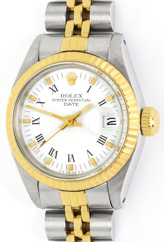 Foto 2 - Rolex Lady Date Stahl Gold, Automatik, Damen Armbanduhr, U2206