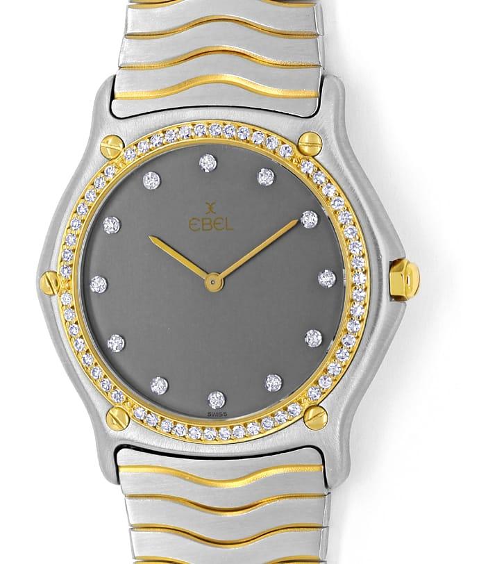 Ebel Classic Sport Wave Diamanten Herren Uhr Stahl Gold U2207