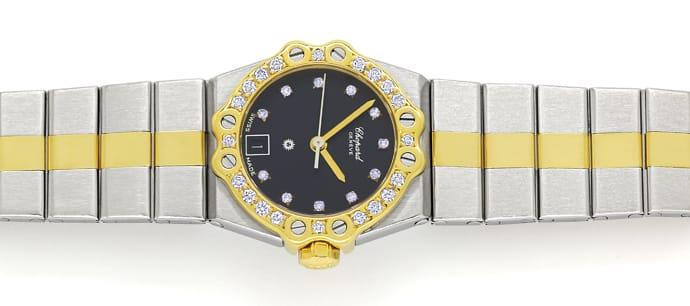 Foto 1 - Chopard St.Moritz Stahl Gold Damenuhr mit Diamantbesatz, U2208