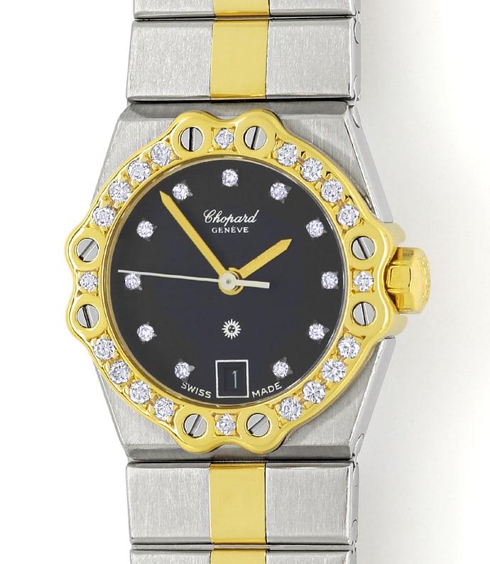 Foto 2 - Chopard St.Moritz Stahl Gold Damenuhr mit Diamantbesatz, U2208