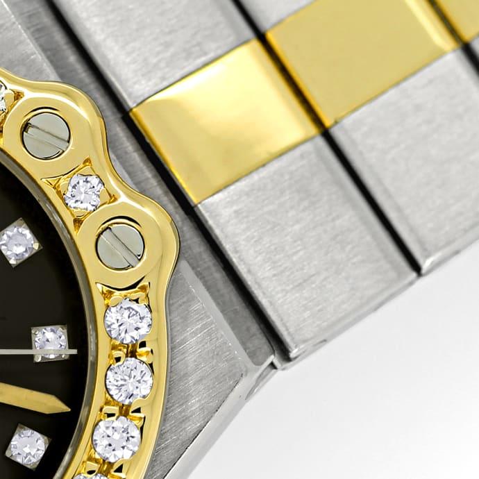 Foto 3 - Chopard St.Moritz Stahl Gold Damenuhr mit Diamantbesatz, U2208