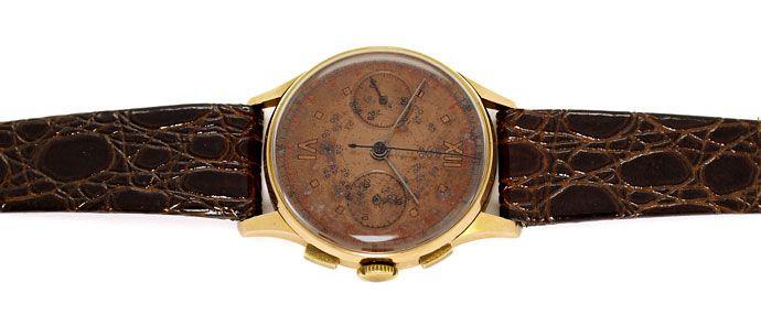 Foto 1 - Chronograph 18K Rotgold Herren Uhr Vintage Lederarmband, U2209