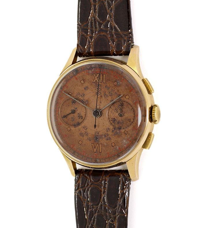 Foto 2 - Chronograph 18K Rotgold Herren Uhr Vintage Lederarmband, U2209