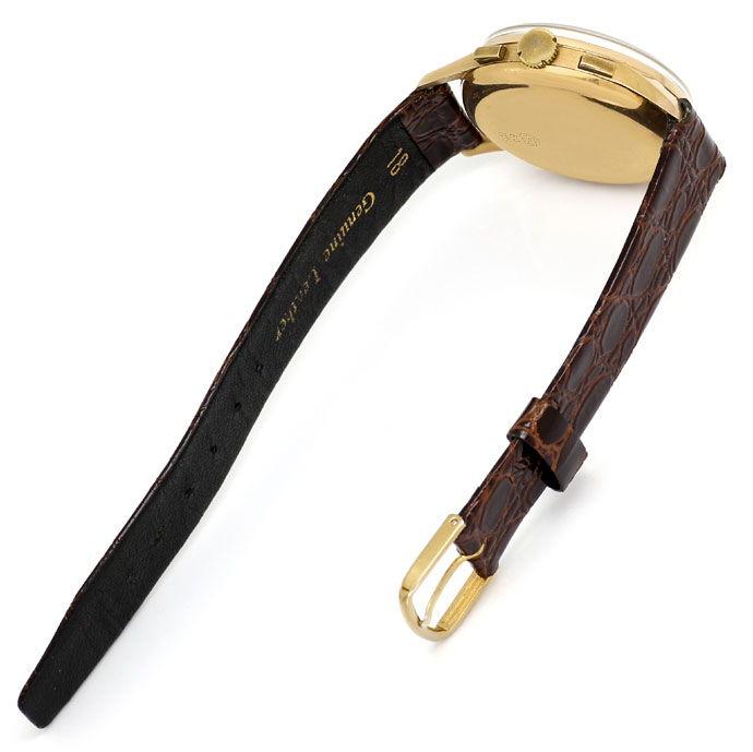 Foto 3 - Chronograph 18K Rotgold Herren Uhr Vintage Lederarmband, U2209