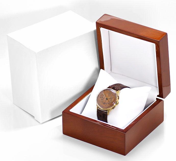 Foto 4 - Chronograph 18K Rotgold Herren Uhr Vintage Lederarmband, U2209