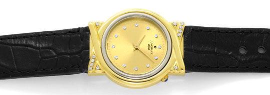 Foto 1, Junghans Mega Diamanten Funk-Armbanduhr massiv Gelbgold, U2214