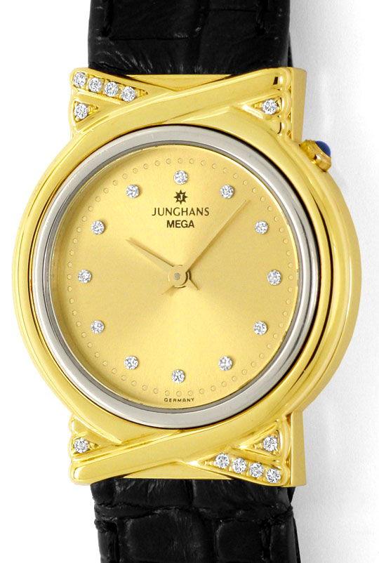 Foto 2, Junghans Mega Diamanten Funk-Armbanduhr massiv Gelbgold, U2214