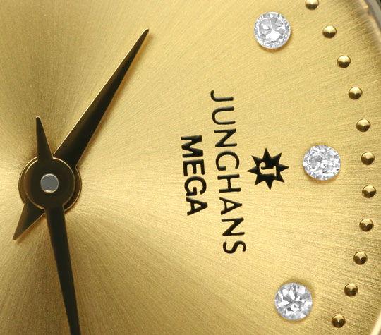 Foto 3 - Junghans Mega Diamanten Funk Armbanduhr massiv Gelbgold, U2214