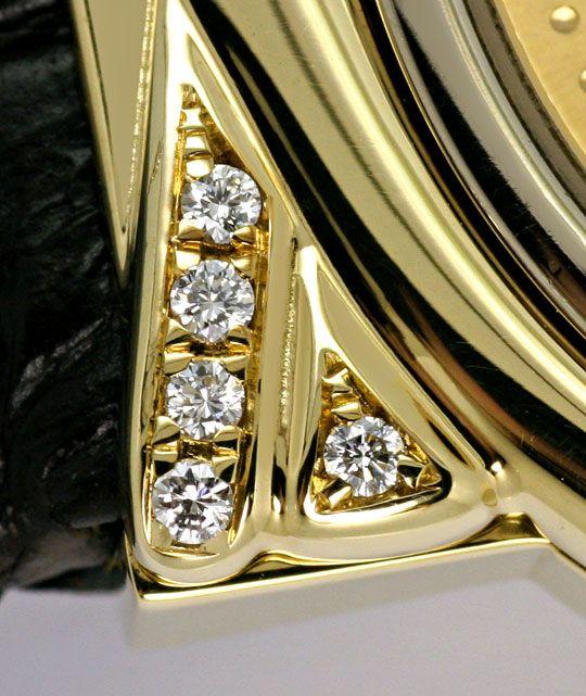 Foto 4, Junghans Mega Diamanten Funk-Armbanduhr massiv Gelbgold, U2214