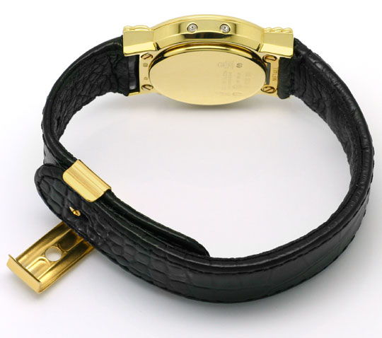 Foto 5, Junghans Mega Diamanten Funk-Armbanduhr massiv Gelbgold, U2214