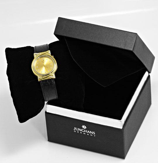 Foto 6 - Junghans Mega Diamanten Funk Armbanduhr massiv Gelbgold, U2214