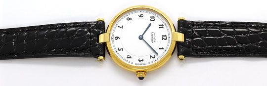 Foto 1, Must.de Cartier Vendome Ronde Silbervergoldet Herrenuhr, U2216
