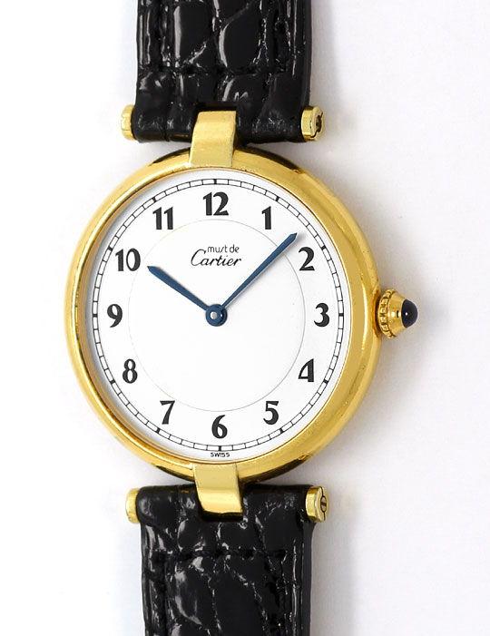 Foto 2, Must.de Cartier Vendome Ronde Silbervergoldet Herrenuhr, U2216