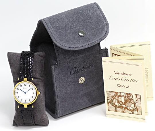 Foto 4, Must.de Cartier Vendome Ronde Silbervergoldet Herrenuhr, U2216