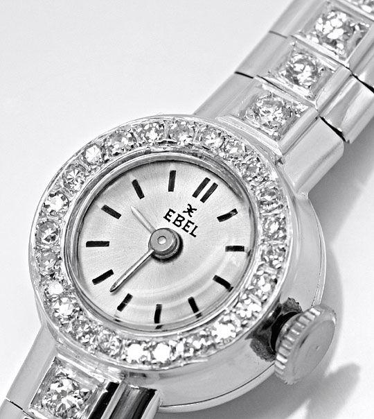 Foto 3, Ebel Damenuhr Diamant-Lünette Diamant-Armband Weissgold, U2219