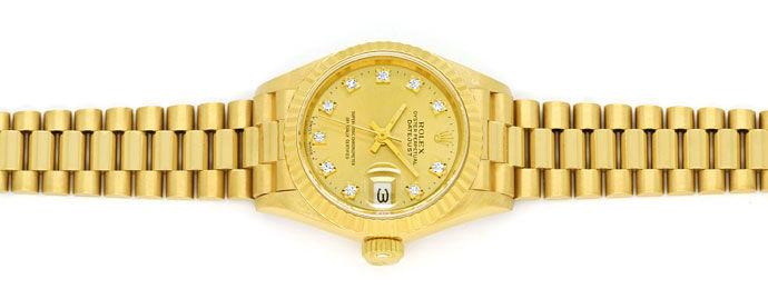 Foto 1 - Rolex Datejust Gelbgold Damen Uhr Diamanten Zifferblatt, U2224
