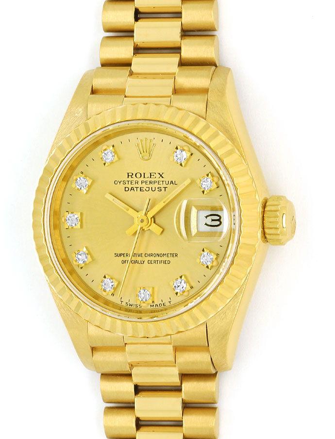 Foto 2 - Rolex Datejust Gelbgold Damen Uhr Diamanten Zifferblatt, U2224