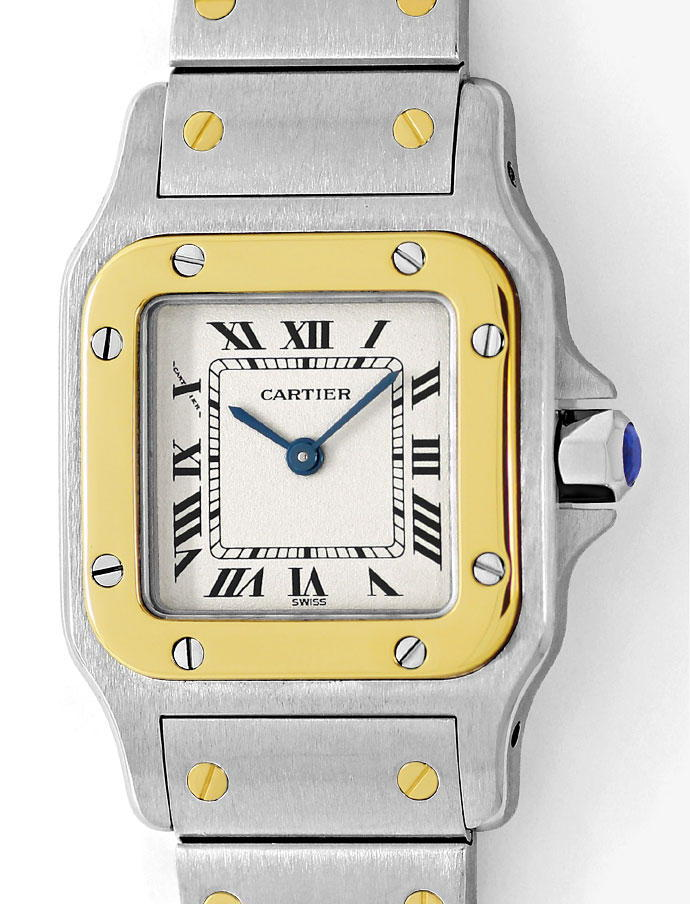 Foto 2 - Santos Galbee de Cartier Stahlgold Damen Uhr Neuzustand, U2232
