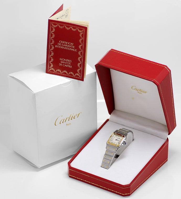 Foto 6 - Santos Galbee de Cartier Stahlgold Damen Uhr Neuzustand, U2232