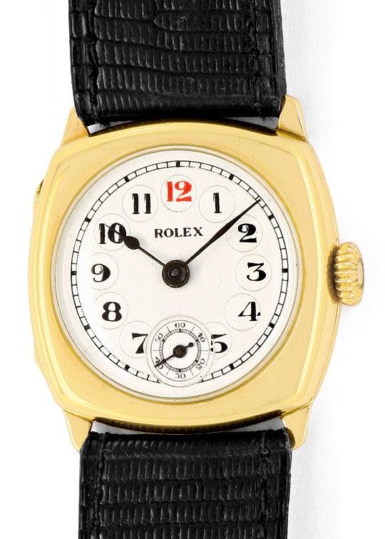 Foto 2, antike Rolex in Gelb-Gold Vintage Armbanduhr Non-Oyster, U2236