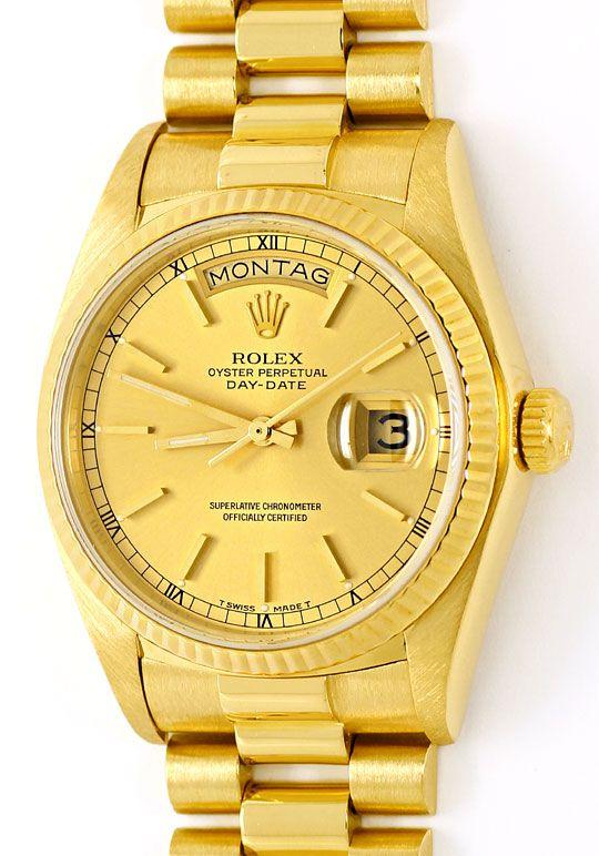 Foto 2 - Rolex Day Date Praesident Band Gelbgold Spitzen Zustand, U2248