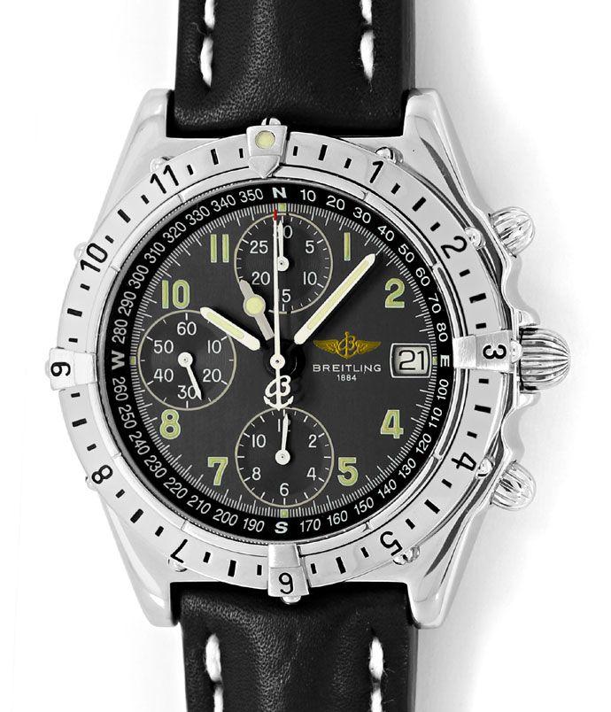 Foto 2 - Breitling Chronomat Longitude GMT Herrenuhr Leder Stahl, U2250