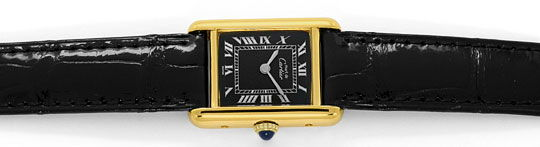 Foto 1, Must.de Cartier Tank Vermeil Faltschliesse Kroko, Damen, U2255
