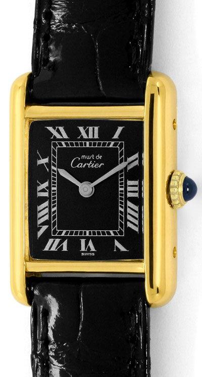 Foto 2 - Must de Cartier Tank Vermeil Faltschliesse Kroko, Damen, U2255