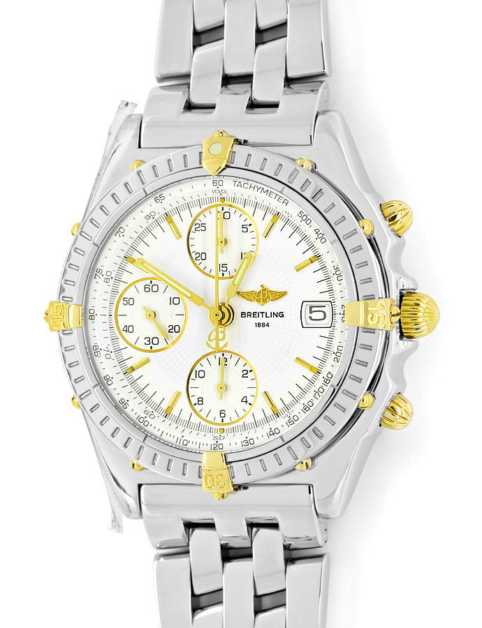 Foto 2 - Breitling Chronomat Stahl Gold Herren Uhr Pilot Armband, U2273