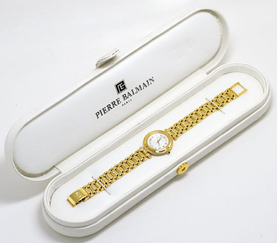 Foto 6, Pierre Balmain Paris Diamanten-Damenarmbanduhr Gelbgold, U2281