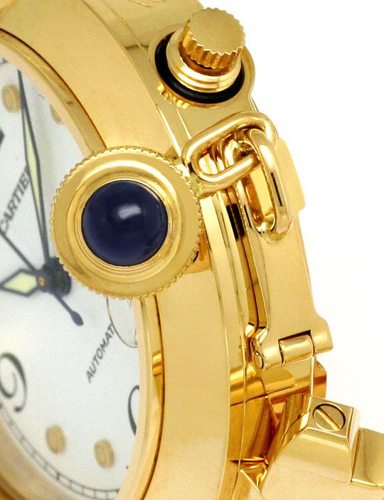 Foto 4 - Original Cartier Pasha Automatik Gelbgold 18K Herrenuhr, U2284