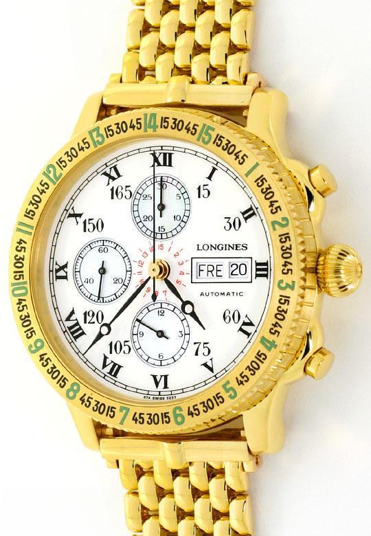 Foto 2, Longines Lindbergh Hour Angle Uhr Chronograph, Gold 18K, U2286