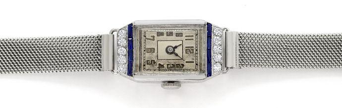 Foto 1 - Original Artdeco 18K Damenuhr mit Diamanten und Safiren, U2292