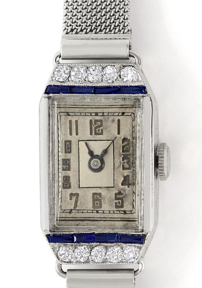 Foto 2 - Original Artdeco 18K Damenuhr mit Diamanten und Safiren, U2292