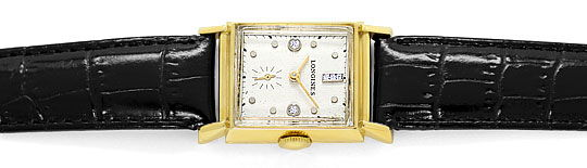 Foto 1 - Longines Vintage Armbanduhr Diamantzifferblatt Gelbgold, U2298