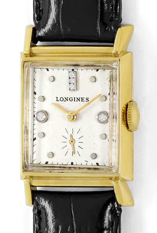 Foto 2 - Longines Vintage Armbanduhr Diamantzifferblatt Gelbgold, U2298