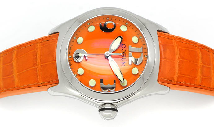 Foto 1 - Courm Bubble Herren Uhr Stahl mit sensationellem Orange, U2309
