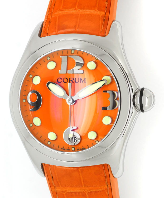 Foto 2 - Courm Bubble Herren Uhr Stahl mit sensationellem Orange, U2309