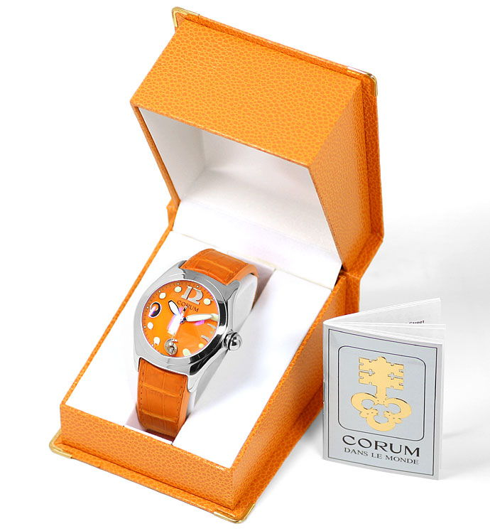 Foto 6 - Courm Bubble Herren Uhr Stahl mit sensationellem Orange, U2309