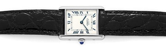 Foto 1, Cartier Tank Art Deco 925 Silber, Kaiman Falt, Damenuhr, U2314