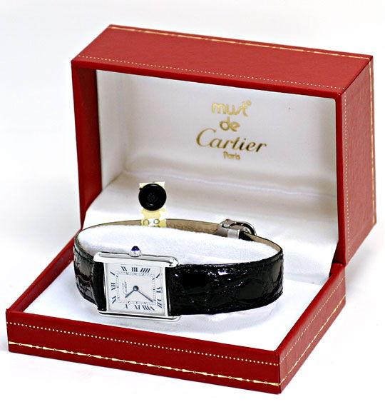 Foto 6, Cartier Tank Art Deco 925 Silber, Kaiman Falt, Damenuhr, U2314