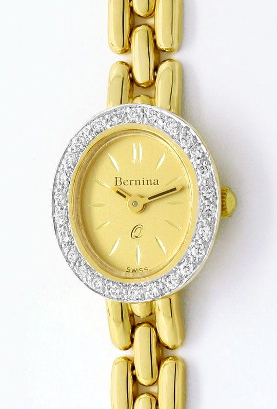 Foto 2, Bernina Damen-Armbanduhr 14K Gelbgold Diamantenluenette, U2321